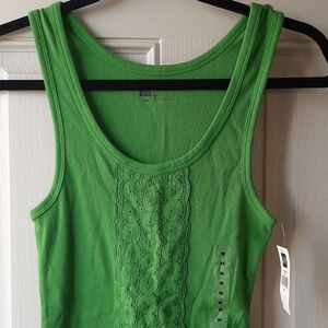 NEW Gap Lime Green Ribbed Tank w/Embroidery - $10